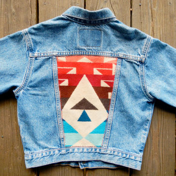 Vintage Cropped Levi's Denim Jacket w/ 3/4 Sleeve and Pendleton Jaquard Back.