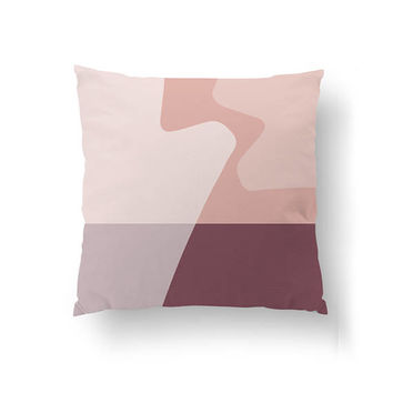 Geometric Textures, Throw Pillow, Nordic Design, Home Decor, Pink Burgundy, Abstract Shapes, Cushion Cover, Decorative Pillow, Pastel Colors