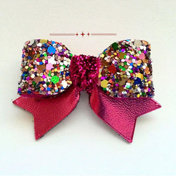 Raspberry Fuchsia Baby Glitter and Leather Hair Bow, Mini glitter Hair Clip, Hot Pink Girls Sparkling Hair Clip, Baby's first glitter bow,