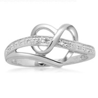 Sterling Silver Diamond Heart Ring, Size 8 (1/20 cttw)
