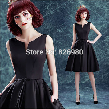 Real Pictures Black Cocktail Dresses Knee Length 2016 Homecoming Graduation Cheap Party Dresses Formal Gown Vestidos de Festa