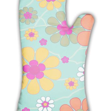 Oven Mitt, Vintage With Decorative Flowers