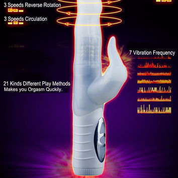 21 Modes G Spot Rabbit Vibrator High-Grade Silicone Rotation Shake Sex Toy Dildo for Women