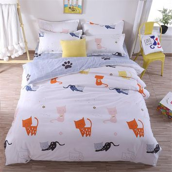 Cool Home Textiles Cartoon Little Cat Duvet Cover plaid Bed Sheet Pillowcase Boys Girls adult Teen Bedding Sets King Queen Twin SizeAT_93_12