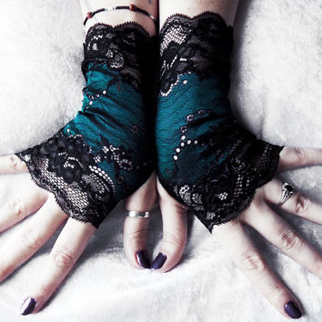 Vainglorious Lace Fingerless Gloves | Black Floral Scroll Deep Dark Green Blue | Wedding Gothic Burlesque Victorian Goth Bridal Noir Long