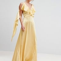 True Violet Ruffle Neck Satin Maxi Dress at asos.com