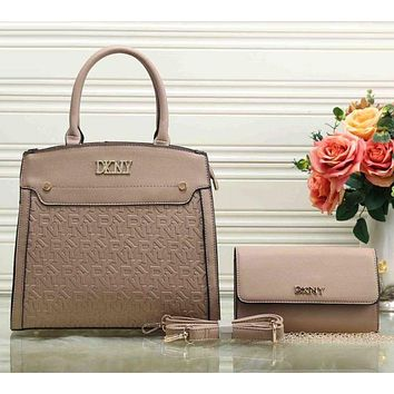 DKNY Donna Karan New York Women Fashion Leather Satchel Shoulder Bag Handbag Crossbody Set Two Piece