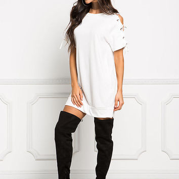White Quilted Lace Up Sleeve Shift Dress
