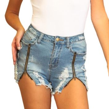 High Wasted Destroyed Zipper Shorts RSS641 - B8E