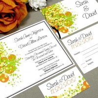 Dotted Tree | Modern Wedding Invitation Suite by RunkPock Designs | Fall, Spring or Summer Tree Script Calligraphy design | shown in yellow, orange and lime green