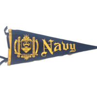 United States Navy 40s or 50s Pennant - Military Christmas Gift - Navy Blue and Gold Pennant - Wall Decor - Militaria
