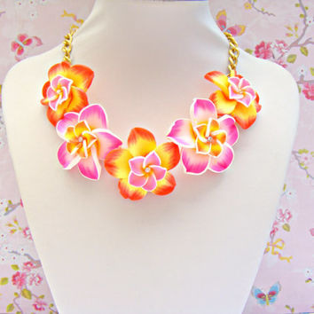 Orange Pink Summer Necklace, Polymer Clay Plumeria Flower Necklace, Hawaiian Orange Yellow Pink Lei Necklace, Polymer Clay Jewelry, Kawaii