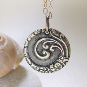 Ocean Waves Spiral of Life Charm Pendant Necklace Sterling Silver Handmade