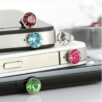 Luxury 3.5mm Diamond Rhinestone Dust Plug Earphone Plug For Iphone 4 5 6 For HTC For Samsung Galaxy S4 S5 S6 Phone Accessories