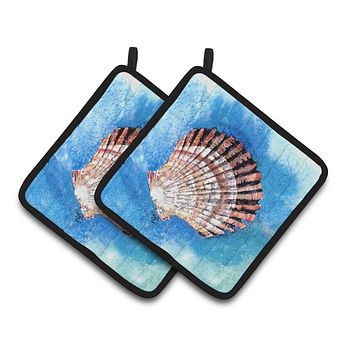 Scallop Sea Shell Pair of Pot Holders 8008PTHD