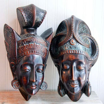 Vintage Carved Masks,  Achatit Prince Princess Tribal Masks, Nubai Style German Carving 1950s