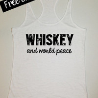 Whiskey and World Peace. Southern Girl Tank. Country Tank Top. Southern Tank. Country Shirt. Fitness Tank. Southern Clothing. Free Shipping