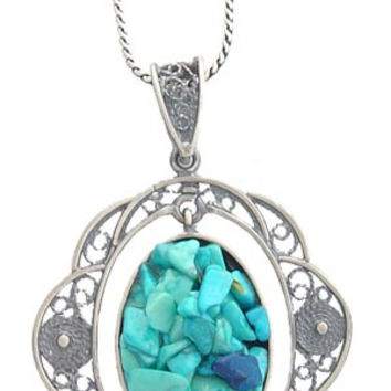 Turquoise Decorative Round Silver Pendant
