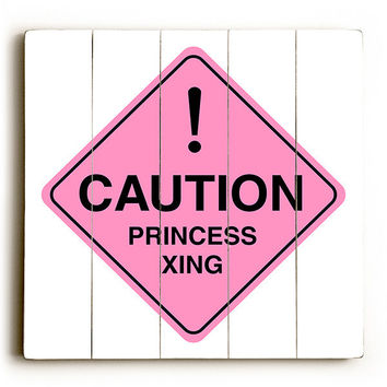 Caution - Princess Crossing by Artist Cory Steffen Wood Street Sign
