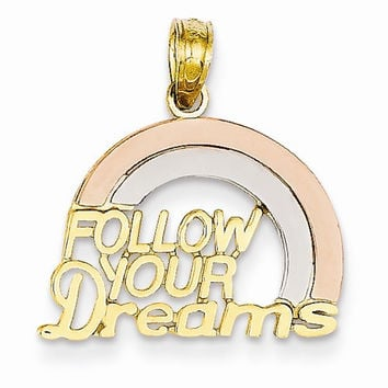 14k Two-Tone Follow Your Dreams Rainbow Pendant