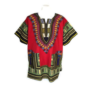 African Dashiki Shirt Tribal Festival Men Caftan Dress Women Free Size Hippie Boho Shirt Red Colorful