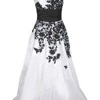 Emma Y New Inclined-shoulder Black Appliques Evening Dresses Long