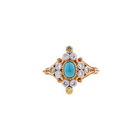 Doyle & Doyle Estate Jewelry | Item: Vintage Turquoise, White & Yellow Diamond Ring