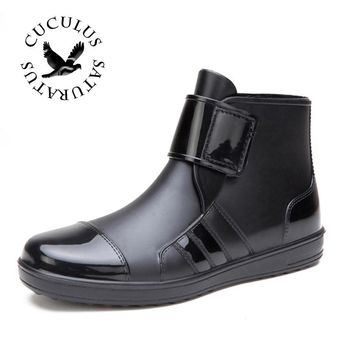 Cuculus 2017 New Men waterproof Boots Martin Ankle Leather outdoor rain boots Thick Heel Flat shoes KL980
