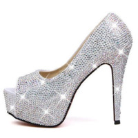 Rhinestone/Crystal High Heel Wedding Shoes