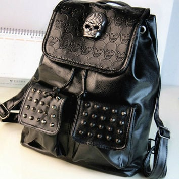 stacy bag hot sale women PU LEATHER backpack lady fashion punk cool rivet skull travel backpack female travel backpack
