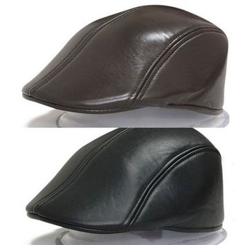 Men Women Solid PU Leather Cap Duckbill Newsboy Beret Gatsby Golf Ivy Unisex Hat