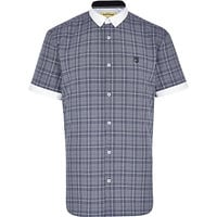 River Island MensBlue check short sleeve shirt