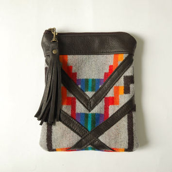 Leather and Pendleton pouch/ clutch with tassel