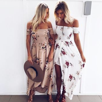 Bohemian Style Long Dress Women Off Shoulder Beach Summer Dress Floral Print Vintage Chiffon White Maxi Dress Vestidos de festa