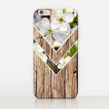 Floral Wood Phone Case For - iPhone 6 Case - iPhone 5 Case - iPhone 4 Case - Samsung S4 Case - iPhone 5C - Tough Case - Matte Case - Samsung