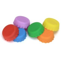 6Pcs Durable and Reusable Silicone Beer Bottle Savers Bottle Caps Sealer--Random Color
