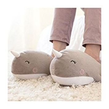 SMOKO Adorable Plush Narwhal Heated Slippers, Foot Warmers