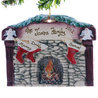 Family of 3 - stockings fireplace mantle personalized Christmas ornament - victorian fireplace oranment