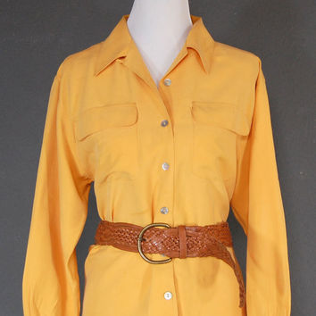 Vintage Silk Blouse / Silk Shirt / Yellow / Size M