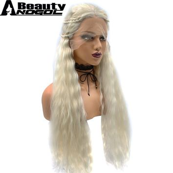 ANOGOL BEAUTY Hair Cap+Game of Thrones Daenerys Targaryen Platinum Blonde Long Yaki Straight Braided Symthetic Lace Front Wig
