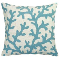 123Creations C764-18X18 Blue Coral Needlepoint Pillow 18 x 18 Pillow