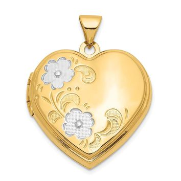 14k Yellow Gold & White Rhodium 21mm Floral Heart Locket Pendant