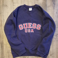 Guess USA Sweatshirt Size S, 90s Embroidered Spell Out Pollover Sweater