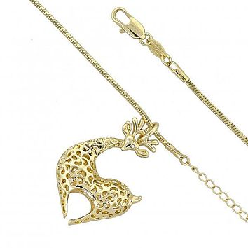 Gold Layered Fancy Necklace, Deer and Rat Tail Design, with Crystal, Golden Tone
