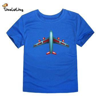 TINOLULING 2017 new baby boys girls airplane t shirt top kids plane t-shirt children summer aircraft tees for 2-14 years