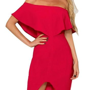 Red Ruffle Zipper Backless Slit Off Shoulder Bodycon Homecoming Party Midi Dress