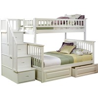 Columbia Staircase Bunk Bed Twin Over Full 2 Raised Panel Bed Drawers White Finish