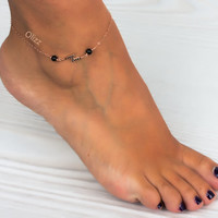 Rose gold anklet / Lightning Bolt / Black anklet / Black Onyx jewelry / Rose gold filled bracelet / Ankle bracelet / Beach jewelry | 0039AM