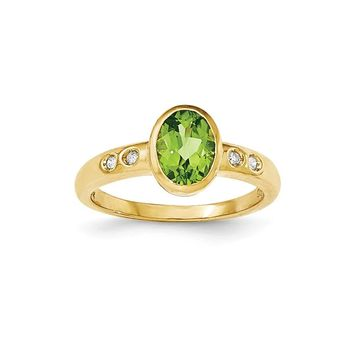14k Yellow Gold Peridot/diamond Bezel-set Ring