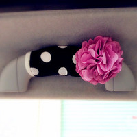 Polka dots Black and White Grab handle Cover with chiffon flowers, Unique Automobile Accessories, Car Decor, Automobile rearview cover